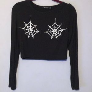 Boohoo Spiderweb Black Crop Top